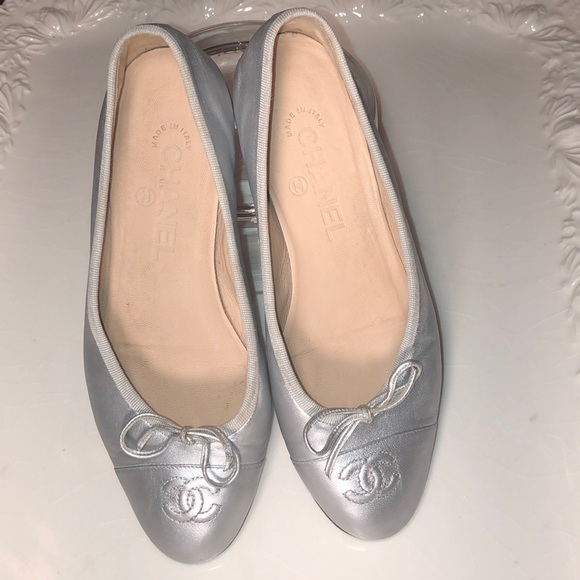 Ballet Slippers Silver Leather Flats